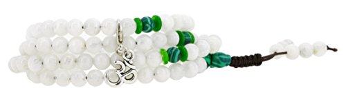 Tibetan 108 Prayer Beads Mala Yoga Simulated Moonstone Elastic Wrap Bracelet Necklace (Om)
