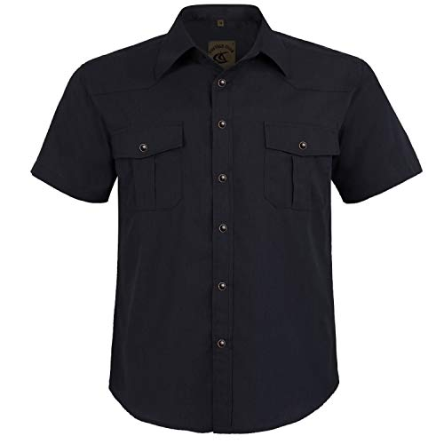 Coevals Club Men's Button Down Solid Short Sleeve Work Casual Shirt (Black #4, 2XL)