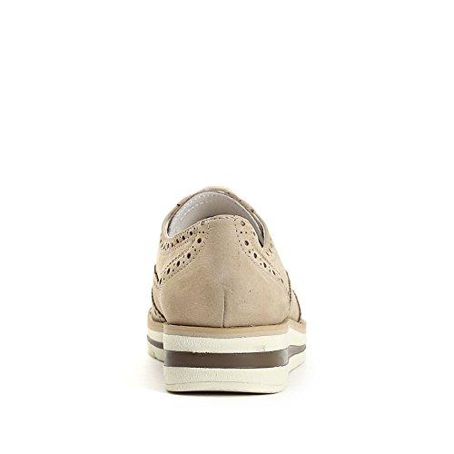 MARINA SEVAL by Scarpe&Scarpe - Zapatos acordonados con plataforma y punta en cola de golondrina, Zapatos Planos, de Piel Beige
