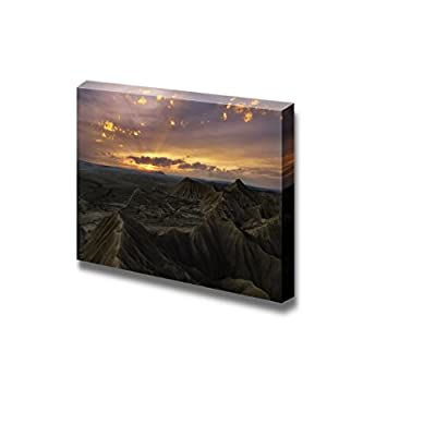 Colorful Sunset Over The Desert of Bardenas Reales Navarra Spain Natural Beauty - Canvas Art Wall Art - 16