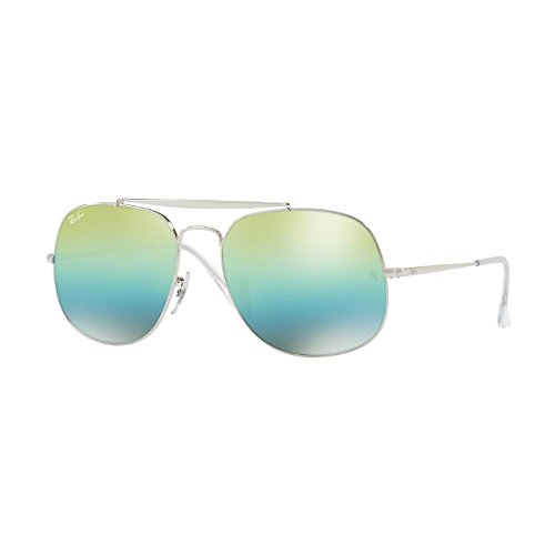 Ray-Ban Men's the General Non-Polarized Iridium Square Sunglasses, Silver, 57 - Ban The General Ray