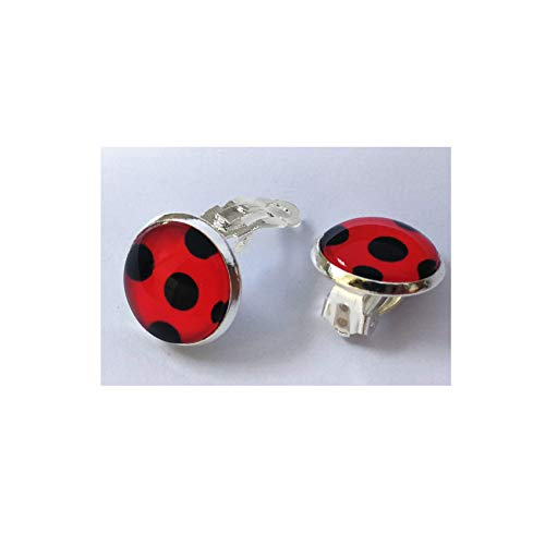 Kid Ladybug Clip on Earrings - 2 Pairs Red Ladybird Little Beetle Charm for Girl Women Child Teen Adult 4 pcs]()