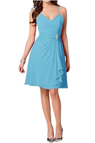 mia Mini Sommer Einfach Cocktailkleider La Blau Traeger Partykleider Formale Braut Damen Abendkleider Spaghetti Chiffon dS74Syc