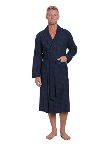 Flannel Robe - Noble Mount Men's Premium Flannel Robe - Windowpane Checks - Navy Green - Large/X-Large