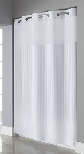 Hookless RBH35MY045 Victorian Stripe Shower Curtain - Bright White