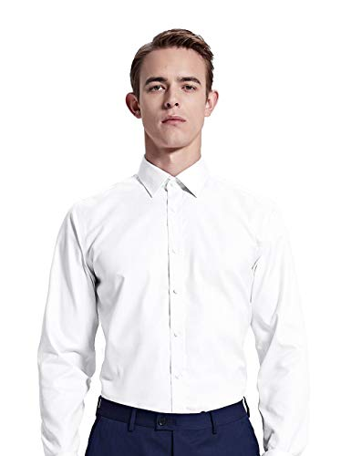 YEABARRON Men's Classic Fit White Bamboo Custom Long Sleeve Dress Shirt ()
