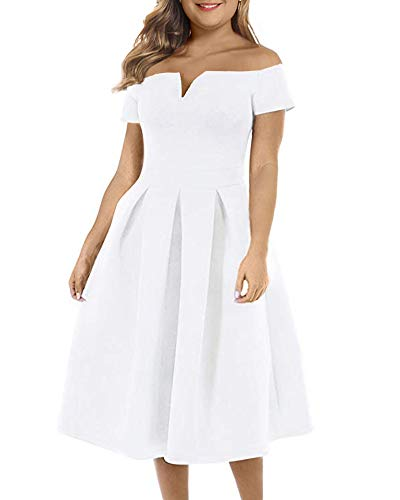 LALAGEN Women's Vintage Knee Length Party Wedding Swing Midi Dress White XXL