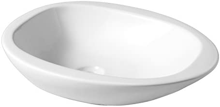 Soldes Vasque /à Poser Galet en c/éramique Blanche Blanc PLANETE Bain