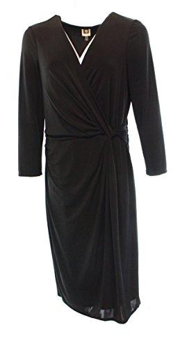 Anne Klein Women's 3/4 Sleeve V Neck Draped Dress, Black, 14