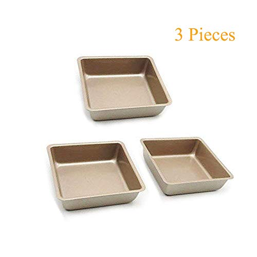 3pcs 4Inch Non-Stick Square Toast Bread Tray Pie Bakeware Cake Baking Dishes Pan by Homkoo