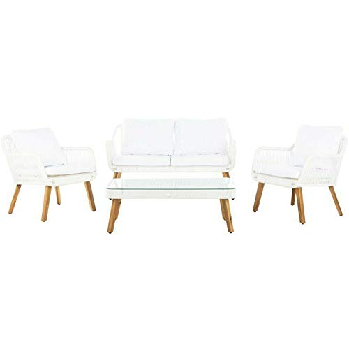 JumpingLight Aldric 4 Piece Patio Sofa Set in White and Teak Brown Durable and Ideal for Patio and Backyard ()
