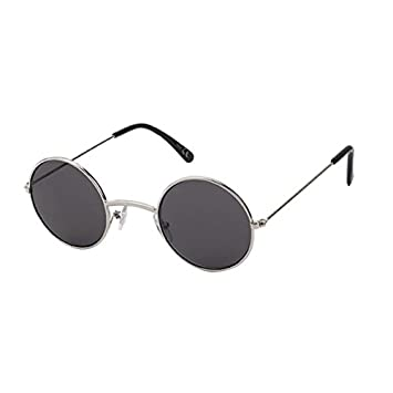 Sonnenbrille Round Glasses John-Lennon-Style 400 UV Metall getönt langer Steg silber UrO6QzRQhm