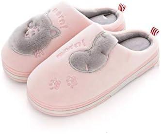Beach slippers 綿のスリッパ女性の太いボトムハーフ袋のカップルホームノンスリップメンズプラスベルベットシューズ (Color : Pink, Size : 41-43)