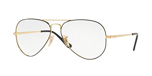 Ray-Ban Unisex RX6489 Aviator Eyeglasses Gold On Top Black 58mm