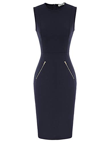 Women's Vintage Bodycon Midi Dress Wedding Dress Size XL Navy Blue CL014-3