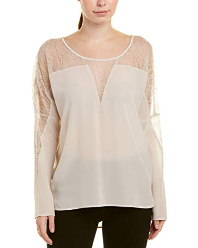 Gold Hawk Womens Lace Insert Silk Top, M, White