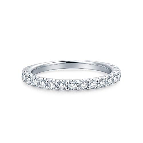 3mm Rhodium Plated Sterling Silver Simulated Diamond Cubic Zirconia CZ Half Eternity Wedding Ring (9) by Hafeez Center