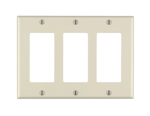 Leviton 80411-A 3-Gang Decora/GFCI Device Decora Wallplate, Standard Size, Thermoset, Device Mount, (Triple Gang Faceplate)