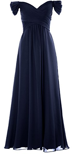 Dress Prom Long Shoulder the Off Women MACloth Wedding Chiffon Gown Party Dunkelmarine Formal wxAYq