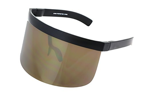 Elite Futuristic Oversize Shield Visor Sunglasses Flat Top Mirrored Mono Lens 172mm (Gold Mirror, - Visor Shield