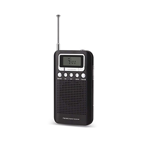 AM FM Portable Pocket Radio Alarm Clock AM/FM Compact Radio Player Operated 2 AAA Battery, Stereo Headphone Socket Memory Mode & Sleep Timer by VegasDoggy