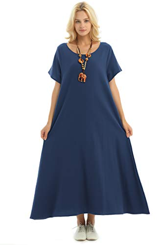 Anysize Side Pockets Linen Cotton Soft Loose Dress Spring Summer Plus Size Clothing F131A,Navy,2X Plus