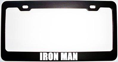 Iron Man Black Metal Steel License Plate Frame Perfect for Men Women Car garadge Decor -