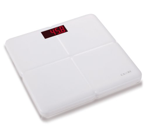 Camry Body Scale Super Comfort Plastic ABS Bathroom Scale Extra Large 3.3'' LED Display with Step on Technology, White by CAMRY