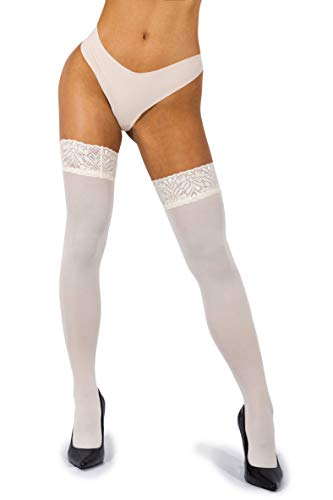 sofsy Lace Thigh High Stockings for Women - Hold Up Nylon Pantyhose 60 Den [Made in Italy] Cream 1/2 - XS/Small -