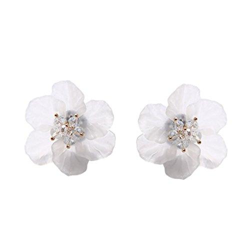 Women Earrings Clearance! 2018 Flower Earrings Crystal Clip On Stud Earrings Fashion Jewelry Eardrop for Women Girls (White - Charming Green Earring Jade