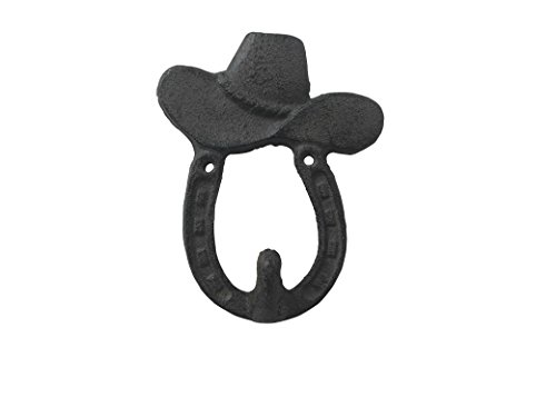 Comfy Hour Cast Iron Cowboy Hat Single Coat Hook Clothes Rack Wall Hanger - Metal, Heavy Duty, Rustic, Vintage, Recycled, Decorative Gift Idea (Western Cowboy Wall Hook)