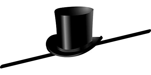 LAMINATED 48x24 inches Poster: Top Hat Cane Dance Celebrate Hat Black Male Retro Elegant Man Clothing Costume Entertainment Magician Performer Theater Wear Illusionist Magical Perform Posing - Traditional Black Top Hat