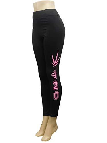 ings Pants - Exercise Yoga Leggings - Casual Leggings - Weed Leaf Print Design Black Leggings 420 Theme Free Size ()
