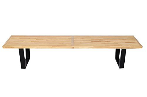 MLF Nelson Platform Bench (3 Sizes). Rubber Hardwood Top for Smart & Superior Strength. Ebonized & Finger-jointed Black Painted Solid Legs for Durable, Finished &Simple Assembly.(6 Feet) - 4' Classic Wooden Bench