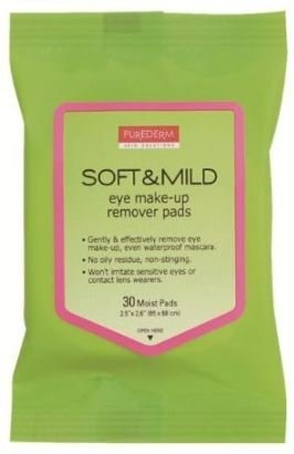 Purederm Soft and Mild Eye Make up Remover Pads (30 Pads Per Pack) (6 Packs) by Purederm