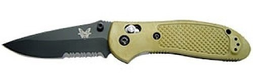 Part Serrated Drop Point - Benchmade - Griptilian 551 Knife, Serrated Drop-Point, Coated Finish, Olive Handle