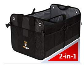 SUV Cargo Organizer and Grocery Organizer for SUV Auto Jeep 3-in-1 with Insulated Cooler Bag with Tie Down Straps Minivan 3-in-1 w//Cooler, Black Tuff Viking SUV Trunk Organizer for Cars