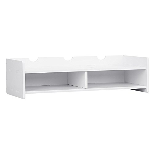 LiCheng Bridal Computer Monitor Riser Two Tiers Shelves Monitor Stand 19.098.265.11 Inch Save Space Desktop Stand White by LiCheng Bridal