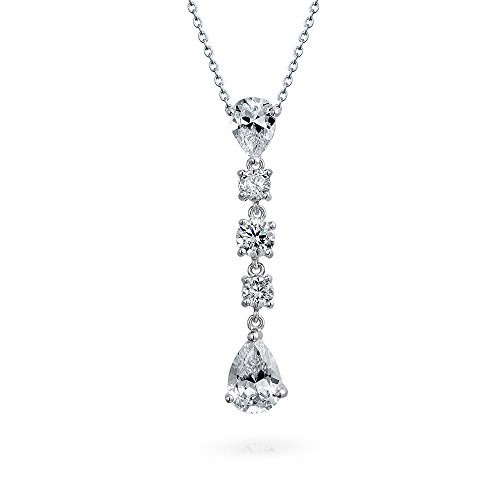 (Linear Pear Shape Teardrop Clear White Cubic Zirconia Wedding Prom Holiday Bridal Dangling Pendant Necklace For)