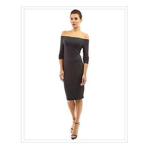 Longues Femmes Black Couleur Un Sexy de Jupe lgante Hors Size S Mince Manches paule Color Gray Isbxn Unie des Mot Collier Robe x7wCUU