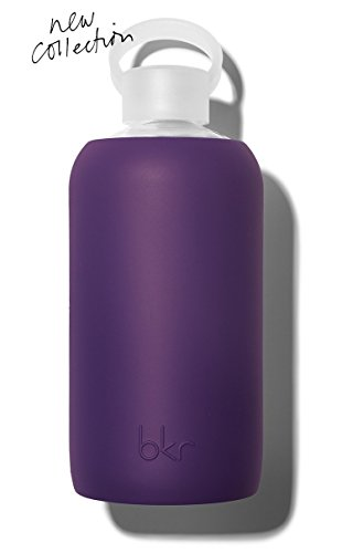 bkr - BEST Original Glass Water Bottle - Premium Quality - Soft Silicone Protective Sleeve - BPA Free - Dishwasher Safe (32oz / 1L)-Taj - Royal - Local Glasses Store