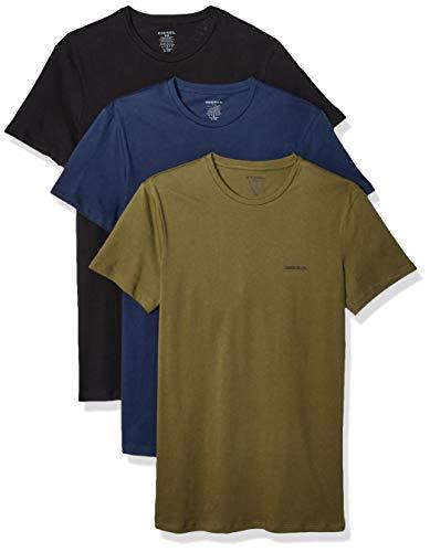 Diesel Men's UMTEE-Jake THREEPACK Crew Neck T-Shirts, Black/Green/Blue, S ()