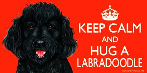 Labradoodle Black Dog Gift - 'KEEP CALM' LARGE colourful 4' x 8' MAGNET - High Quality flexible magnet for indoor or outdoor use for your Fridge, Car, Caravan or use on any flat metal surface -Water proof and UV resistant. Car-Pets Ltd