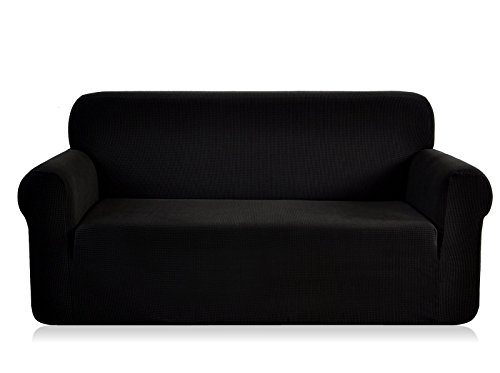 CHUN YI 1-Piece Jacquard High Stretch Sofa Slipcover, Polyester and Spandex 3 Seater Cushion Couch Cover Coat Slipcover, Furniture Protector Cover for Sofa and Couch (Sofa, Black)