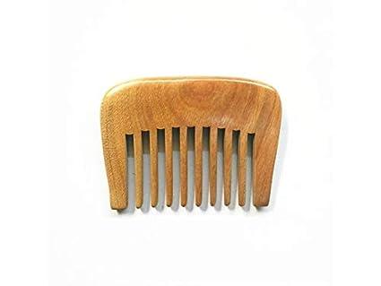 Cepillo de pelo liso Peine de sándalo verde natural Peine de dientes anchos Masaje Peine de