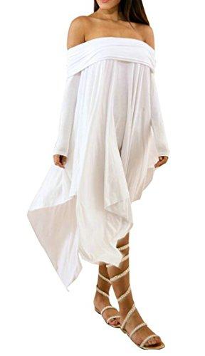 Cromoncent Dresses Solid Shoulder Pleated Womens Off Vogue Midi Irregular White rxYrw86