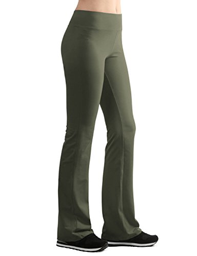 Lock and Love WB961 Womens Slim-Fit Bootleg Yoga Pants M Olive