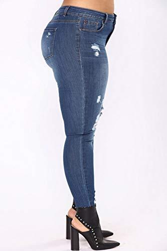 Alta Scurocolor Blu Yacun Jeans Taglia Strappati Donne Le Magre YOYa8vqx