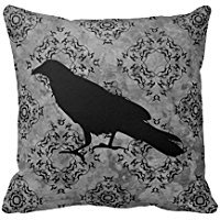 [B Lyster shop Gothic Halloween Black Crow Raven On Gray #4053W Cotton & Polyester Soft Zippered Cushion Throw Case Pillow Case] (Halloween Decor For Home)