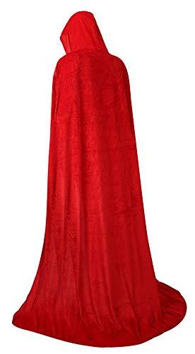 frawirshau Unisex Hooded Cloak Cape Full Length Halloween Cosplay Costumes Masquerade Cloak Red Velvet